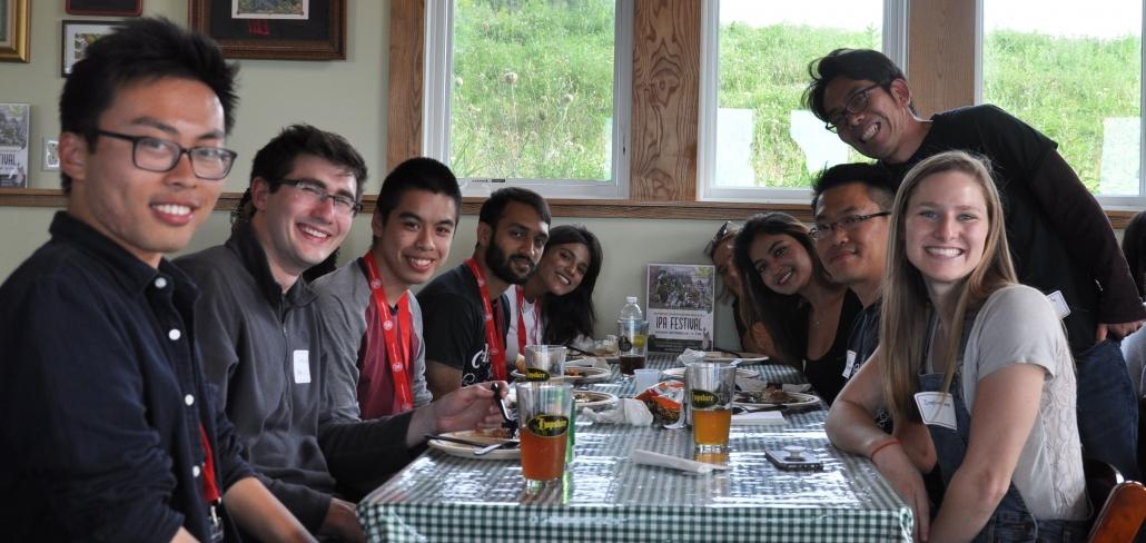 Biophysics grad students with Toshi at Picnic 2019